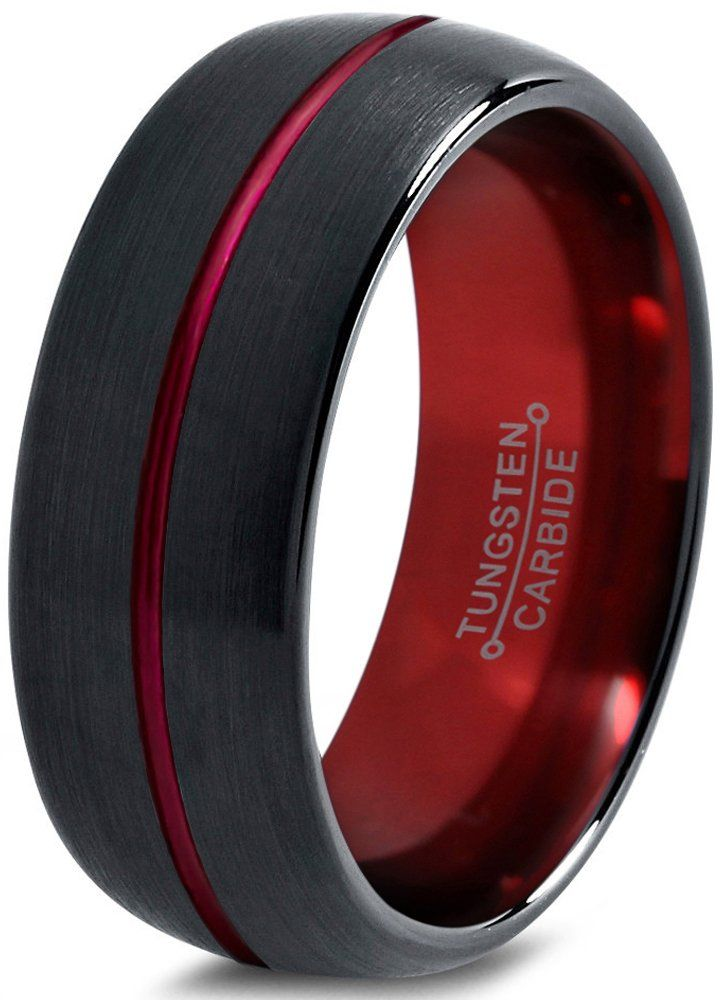 Tungsten Wedding Band Ring 8mm for Men Women Red Black Domed Brushed Polished Size 7