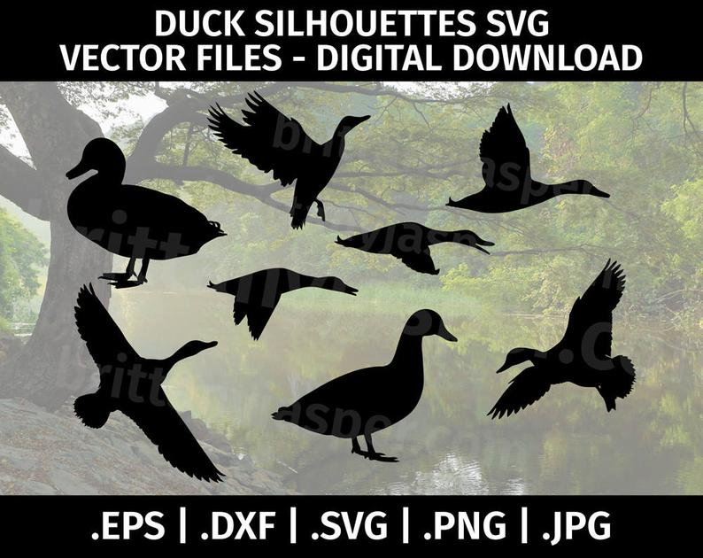 Flying Ducks SVG Bundle  Flying Geese  Landing Duck  Duck Hunting  PnG DXF EPS  Cricut  Silhouette  Digital Cut File  Clip Art