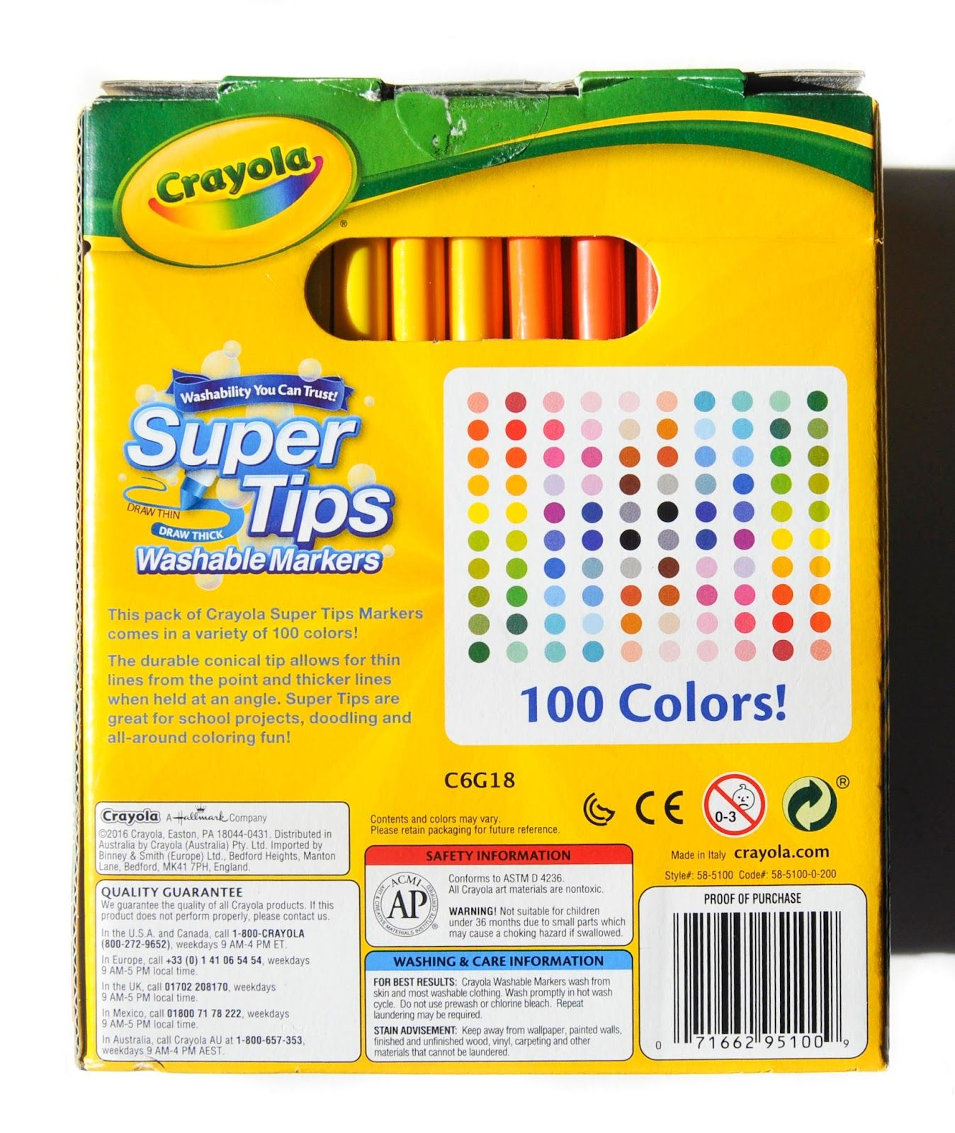 100 Count Crayola Supertips Washable Markers What S Inside The