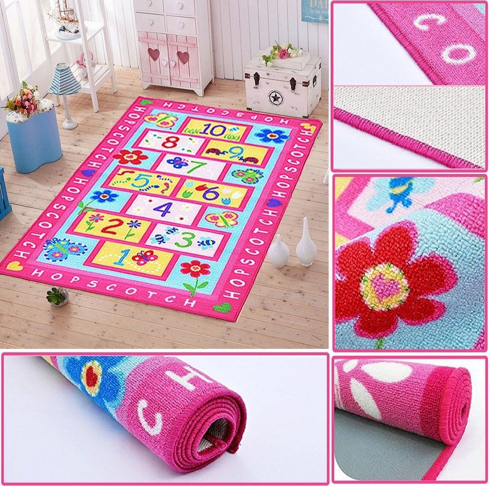 Girls Boys Bedroom Playroom Pink Hopscotch Home Floor Mat Carpets Kids Play  Rugs