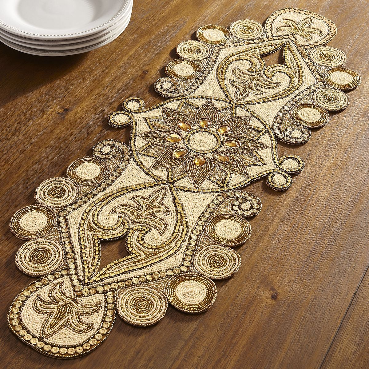 Golden Triumph Beaded Table Runner Pier 1 Imports Boncuk Isi