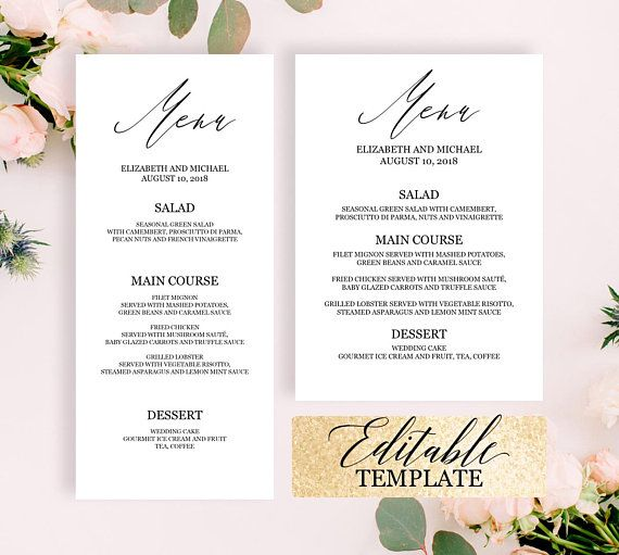 Calligraphy wedding menu template, Elegant dinner party menu - party menu template