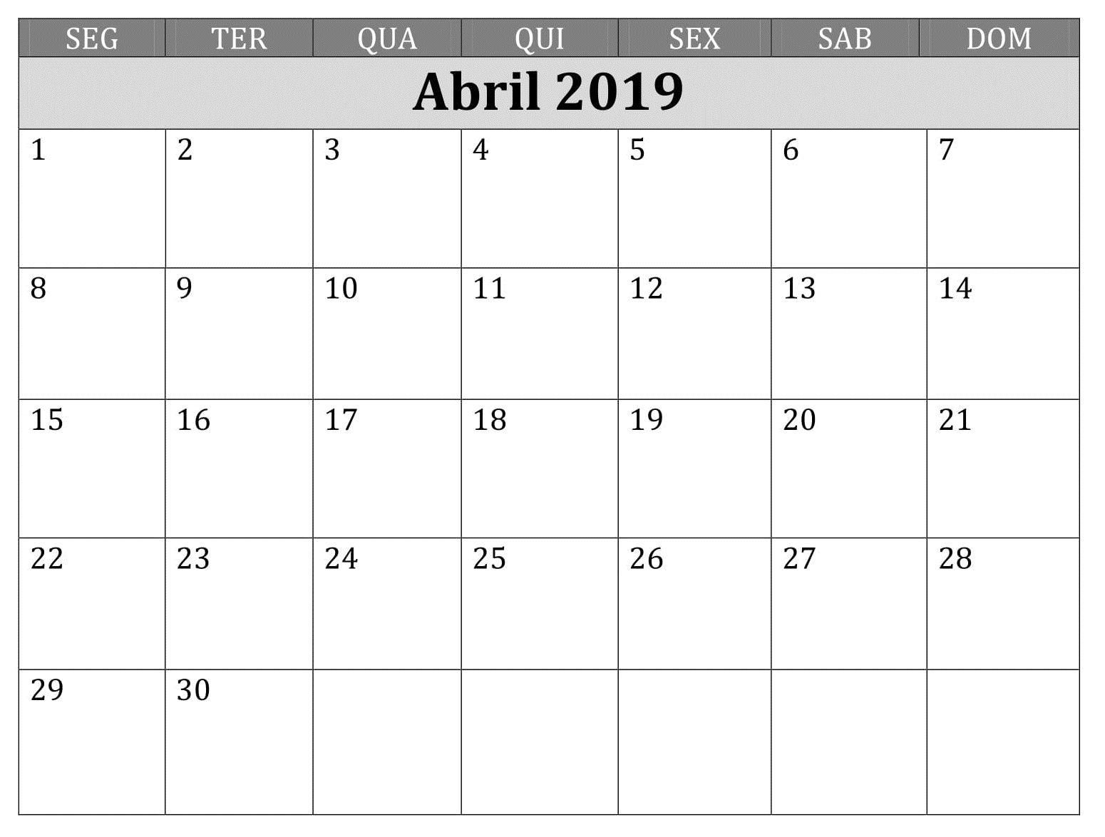Calendario Imprimir Abril 2019.Calendario Mes 2019 Imprimir Abril Calendario Abril 2019 Imprimir