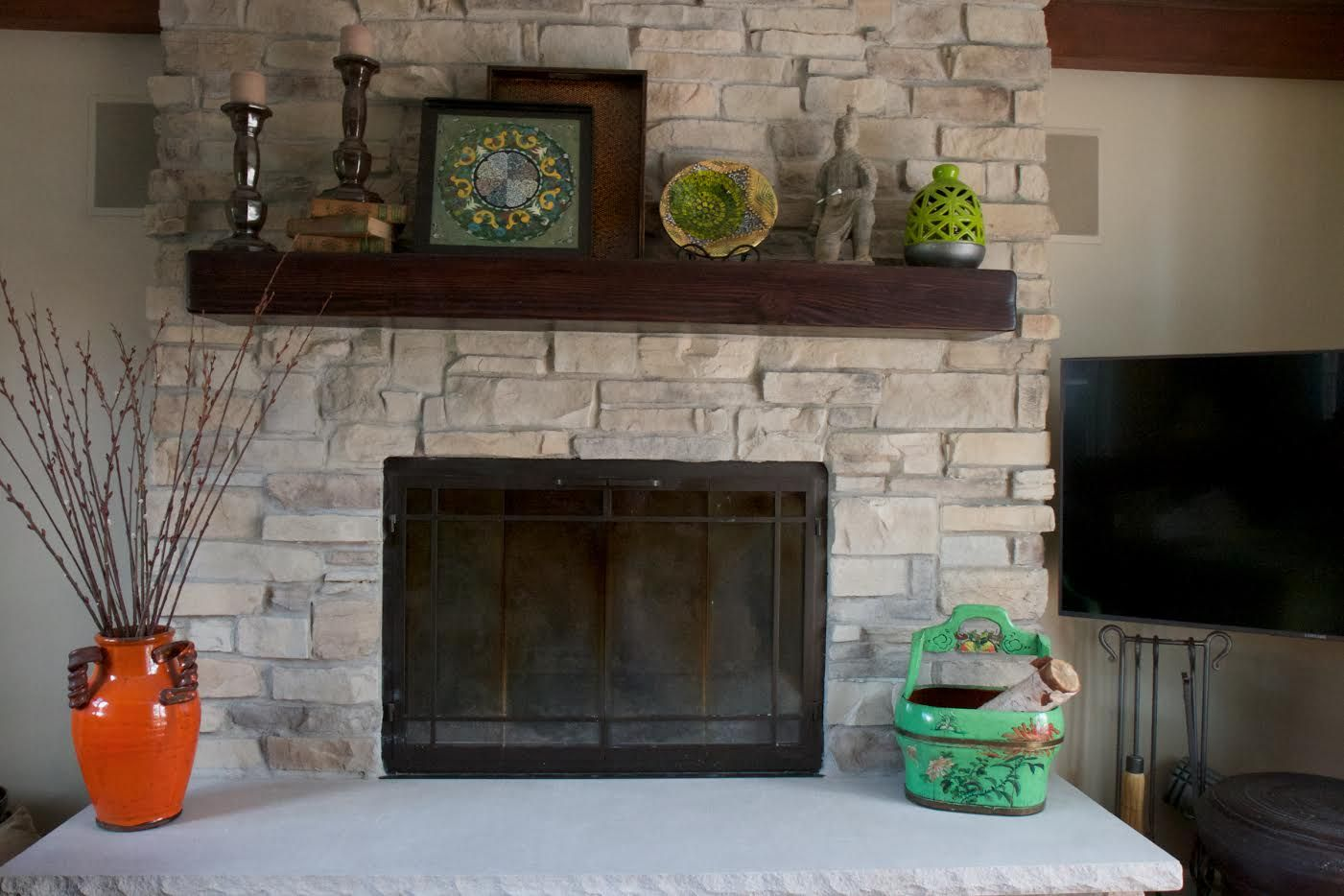 Stone Style Mountain Stack Color Chateau Mantel Beam Mantel Stained Dark Brown Hear Stacked Stone Fireplaces Fireplace Pictures Stone Fireplace Pictures