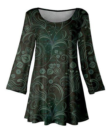 fea3422fa10d Look what I found on #zulily! Brown & Green Paisley Scoop Neck Tunic -  Women & Plus #zulilyfinds