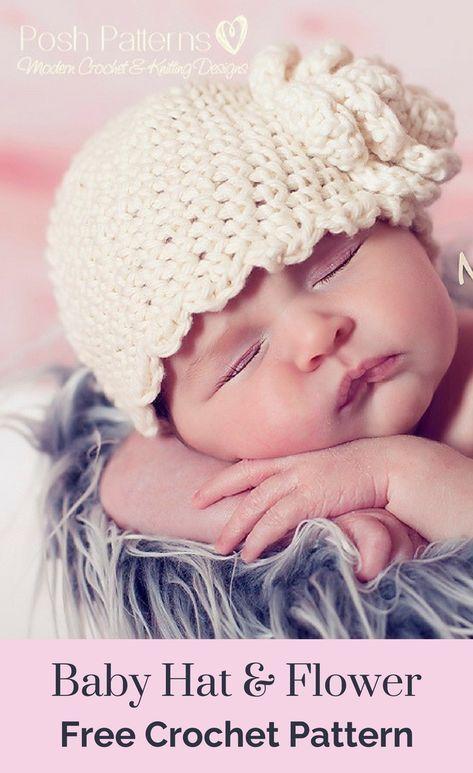 Baby Hat And Flower Free Crochet Pattern Free Crochet Baby Hats