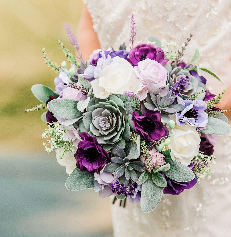 Purple bouquet boho bouquet rustic bouquet succulent