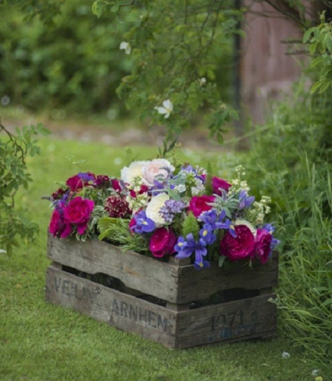 Flowers in old crate.