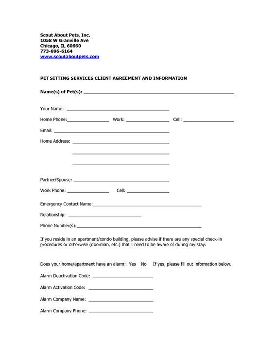 professional pet sitting forms template Dog Sitting Form - Scout - emergency contact forms