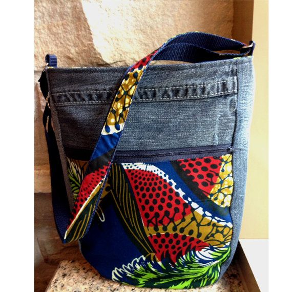 Jeans shoulder bag, Etnika messager bag, woman handmade bag, Sac à main jeans, Bandouliere Etnika, sacoche ankara, gift for her, cadeau Elle
