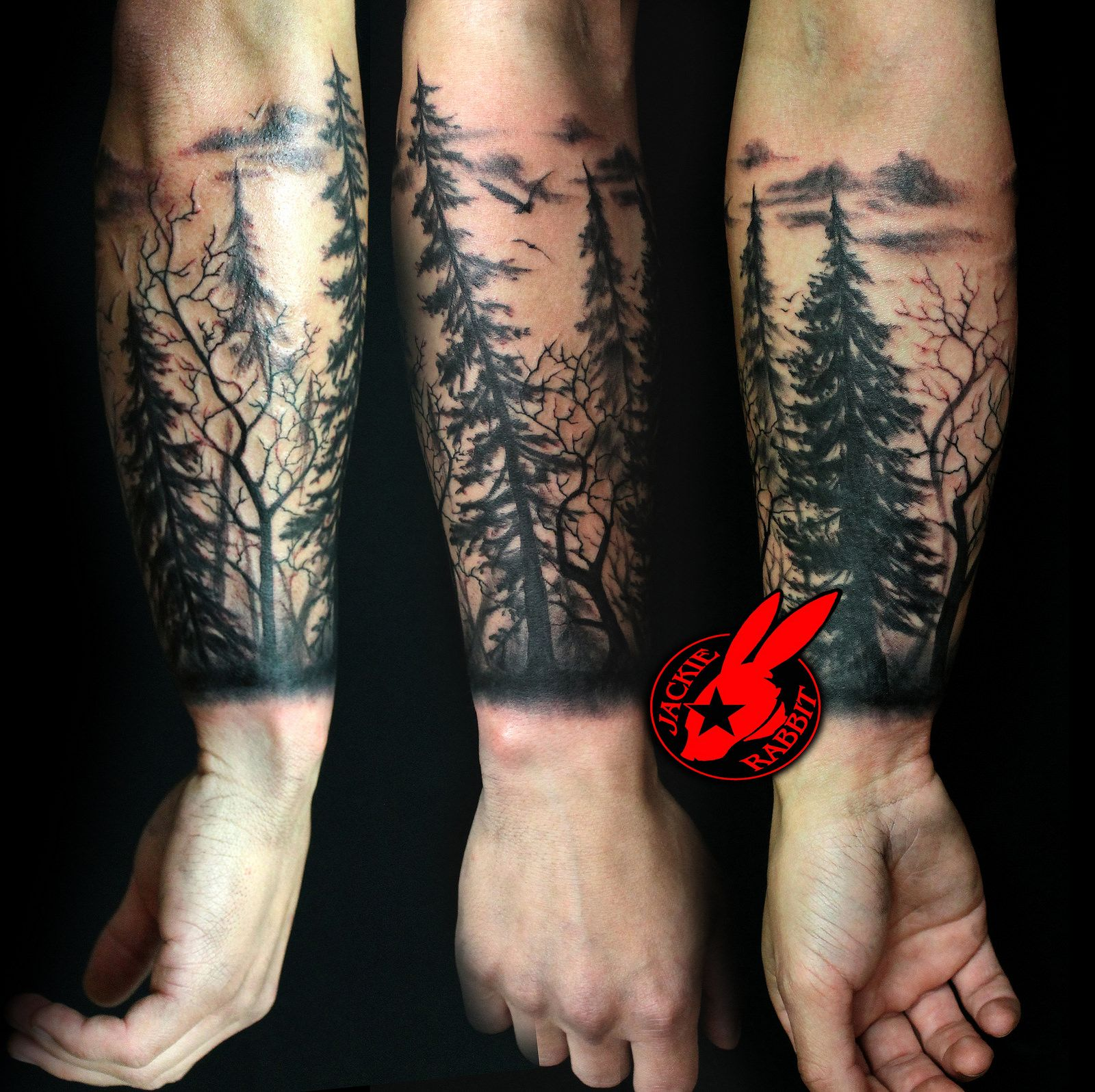 tree silhouette forest pine arm sleeve tattoo by Jackie