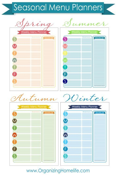 FREE Menu Planning Printable ~ Organize Your Kitchen Frugally Day - free weekly menu templates