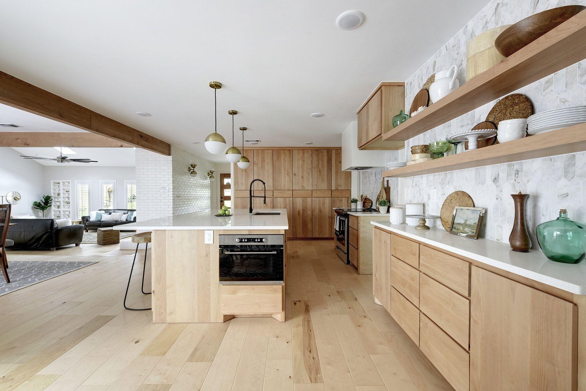 Open Kitchen With Flat Front Natural Alder Wood Cabinets Light Wood Floors Globe Pen Natural Wood Kitchen Cabinets Wood Kitchen Cabinets Natural Wood Kitchen