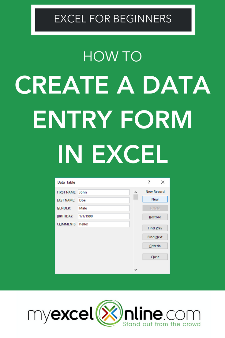 Create Form In Excel For Data Entry Myexcelonline Excel For Beginners Excel Tutorials Microsoft Excel