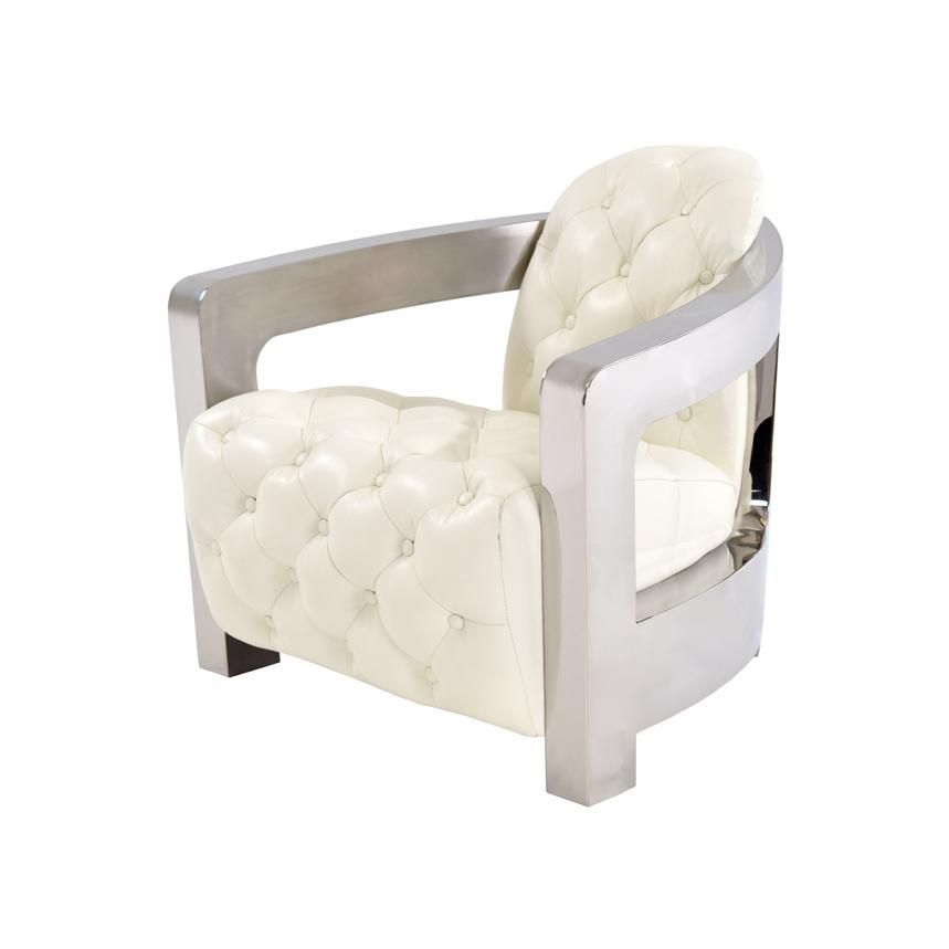 Aviator White Tufted Leather Accent Chair Leather Accent Chair