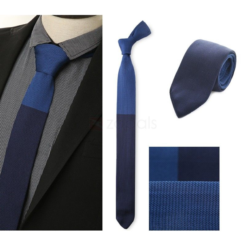 Mens Knit Necktie Slim Tie, Royal Blue & Navy Blue | Slim tie