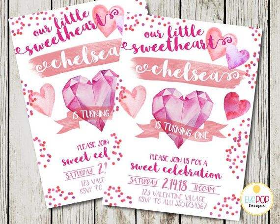 Valentine Birthday Invitation Our Little Sweetheart Party