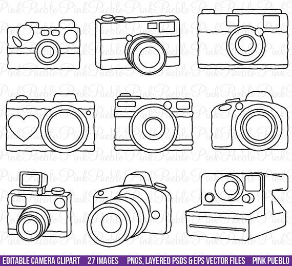 Camera Clipart Clip Art Photography Logo Elements Layered Editable