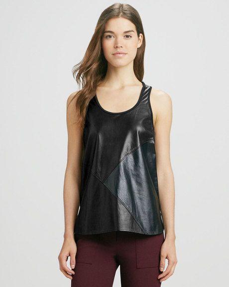 Tibi Black Patchwork Leather Tank Top