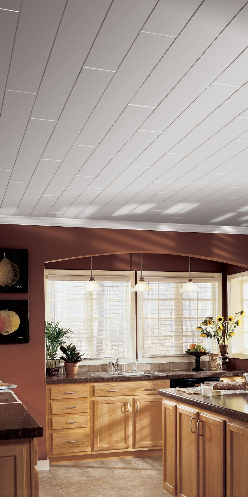 Just In Time For The Holidays A Fast Easy New Kitchen Ceiling Whether You Re Covering Up A Popcorn Ceiling Armstrong Ceiling Remodel Bedroom Ceiling Design