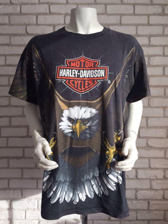Vintage Harley Davidson Motorcycles Eagle Button Up Shirt Size Small Black