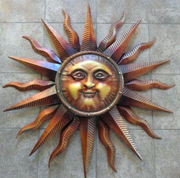 Outdoor Metal Wall Art Sun And Moon Large Copper Patina Sun Face