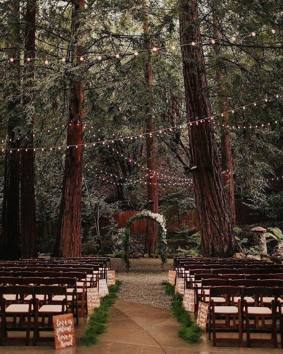"""MyDomaine on Instagram: """"Outdoor reception goals. Would you ever opt for a woodland wedding? Let us know down below! ✨📸: @victoriacarlsonphoto...#goals #instagram #mydomaine #opt #outdoor #reception #wedding #woodland #would"""