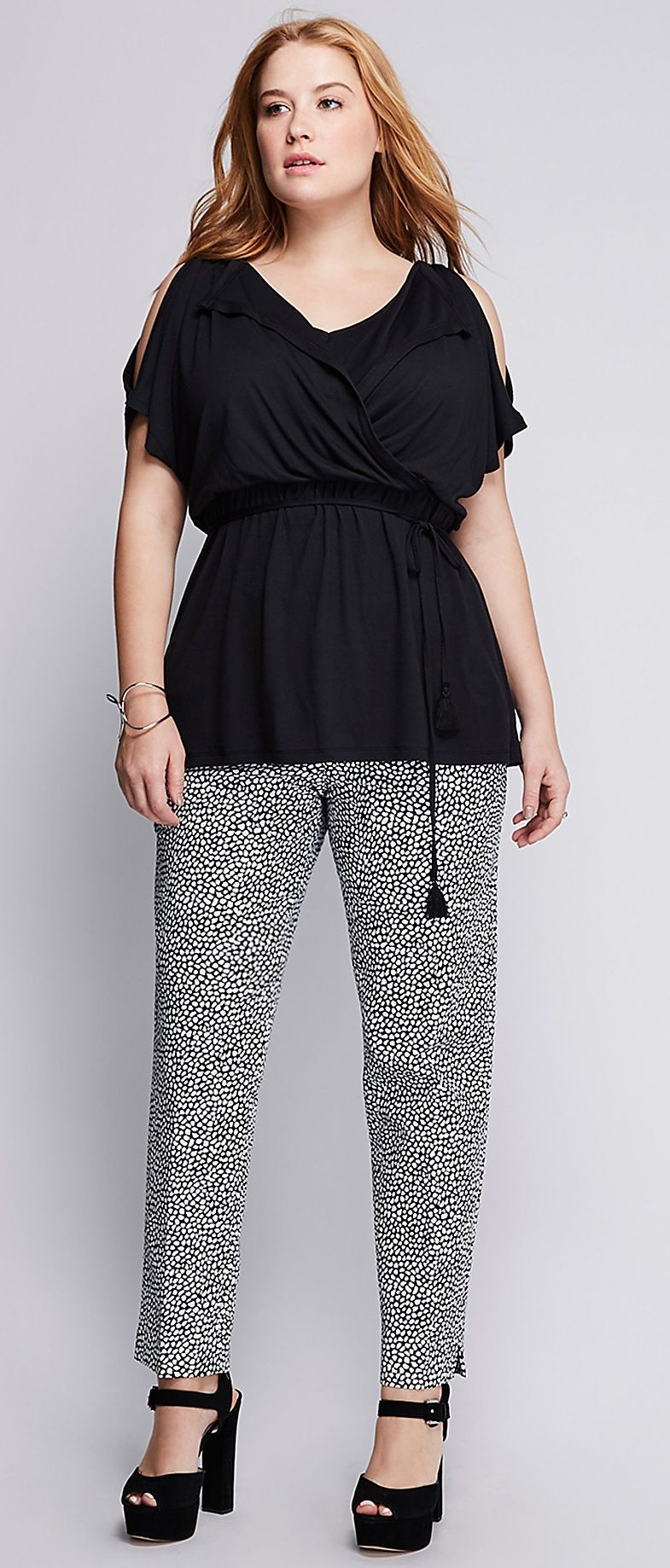 Want this top!!!  Plus Size Elastic Waist Cold-Shoulder Top