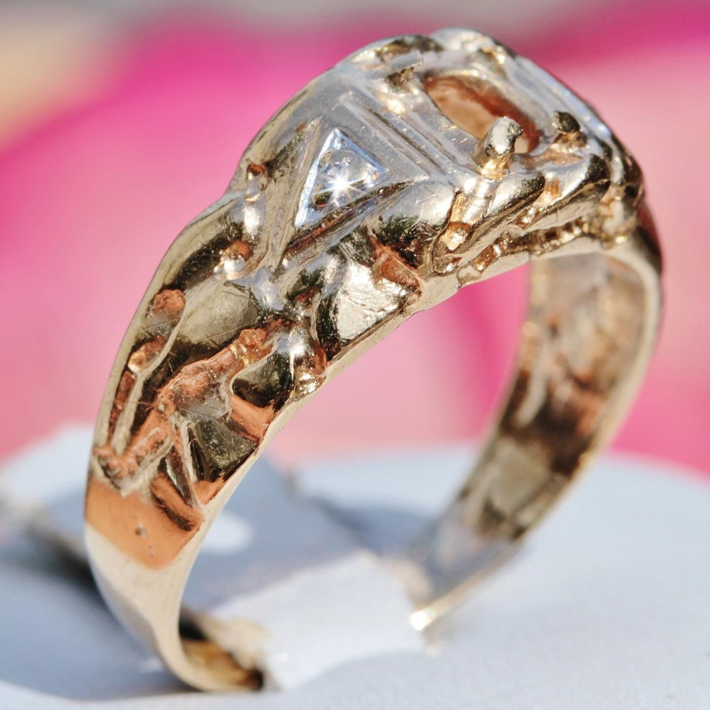 jewelry 10k yellow gold ring mounting 33pt head diamond nugget sz ...