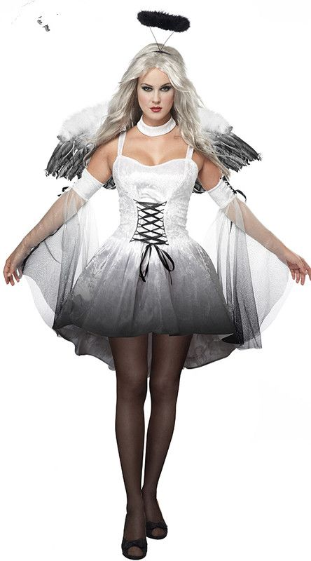 Ladies Girls Adult White FALLEN ANGEL Fancy Dress Costume Christmas Fairy Outfit