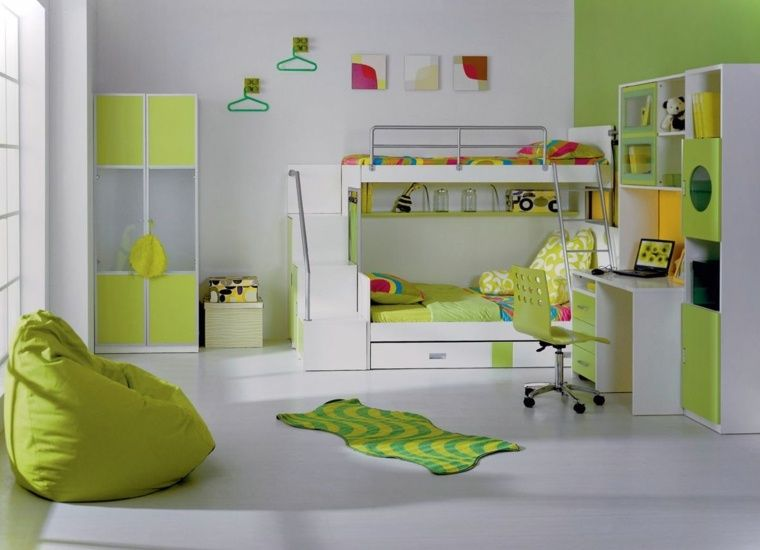 Chambre d\u0027ado en vert et en blanc