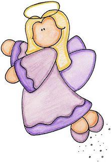 Dibujos Coloreados De Angeles Imagenes Y Dibujos Para Imprimir Christmas Art Christmas Angels Christmas Watercolor