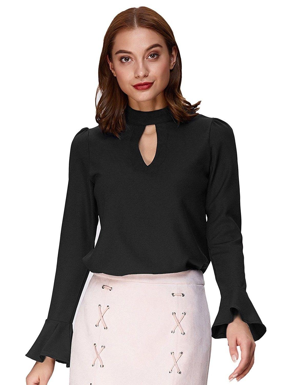 3b9c0de04eefd Women Sexy Long Sleeve Choker V Neck Keyhole Shirt Top With Button ...