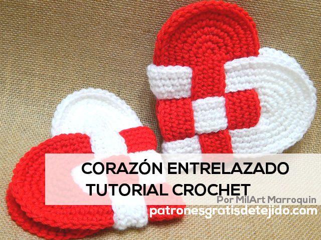 tutorial corazon entrelazado al crochet blanco y rojo   crochet ...