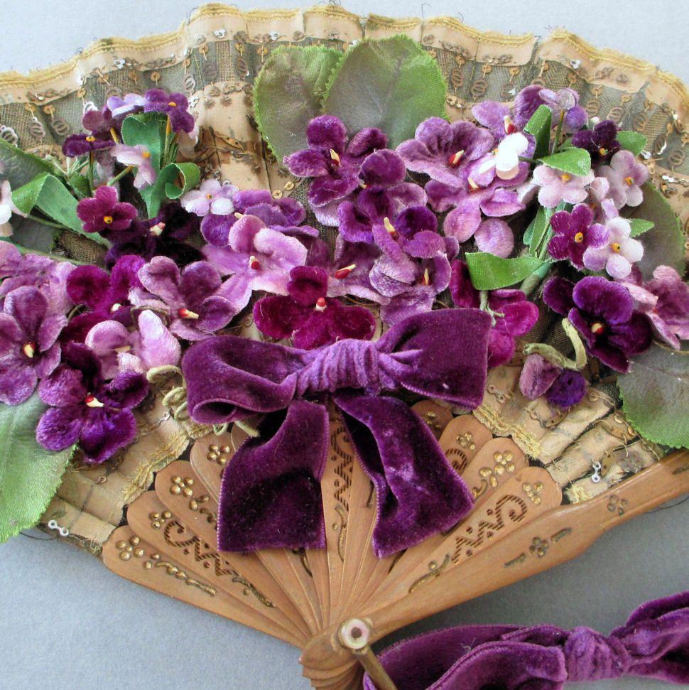 Vintage French Silk Fan Embellished W Vintage Velvet Millinery