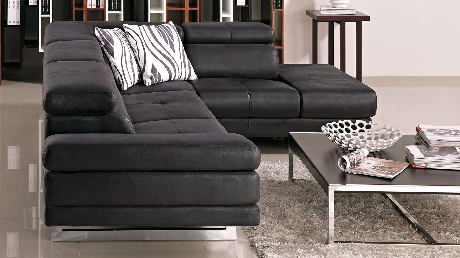 Best Zuri Furniture Brown Paulo Suede Sectional Sofa Right 400 x 300