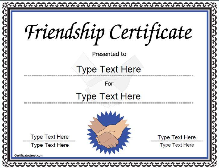 Special Certificate  Friendship Certificate  Certificatestreet