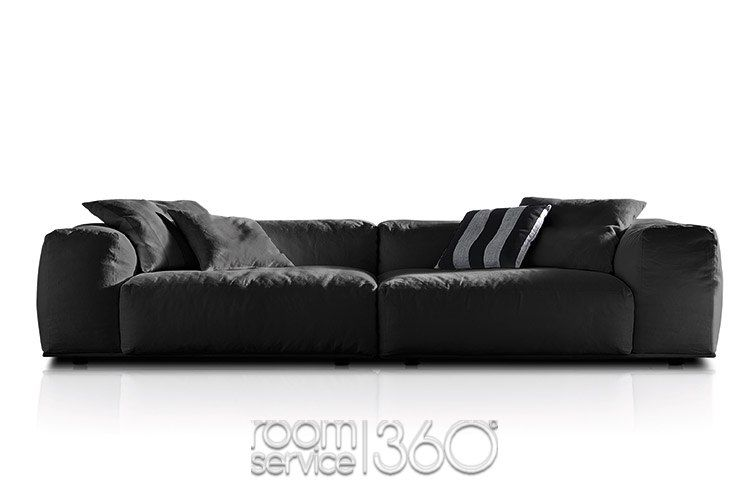 Delano Sofa With Low Back In Black Fabric By Pianca Contemporary