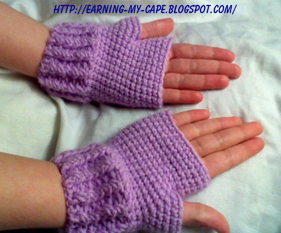 Fingerless Gloves Knitting Pattern For Toddlers : Earning-My-Cape: Kids Fingerless Gloves (free crochet ...