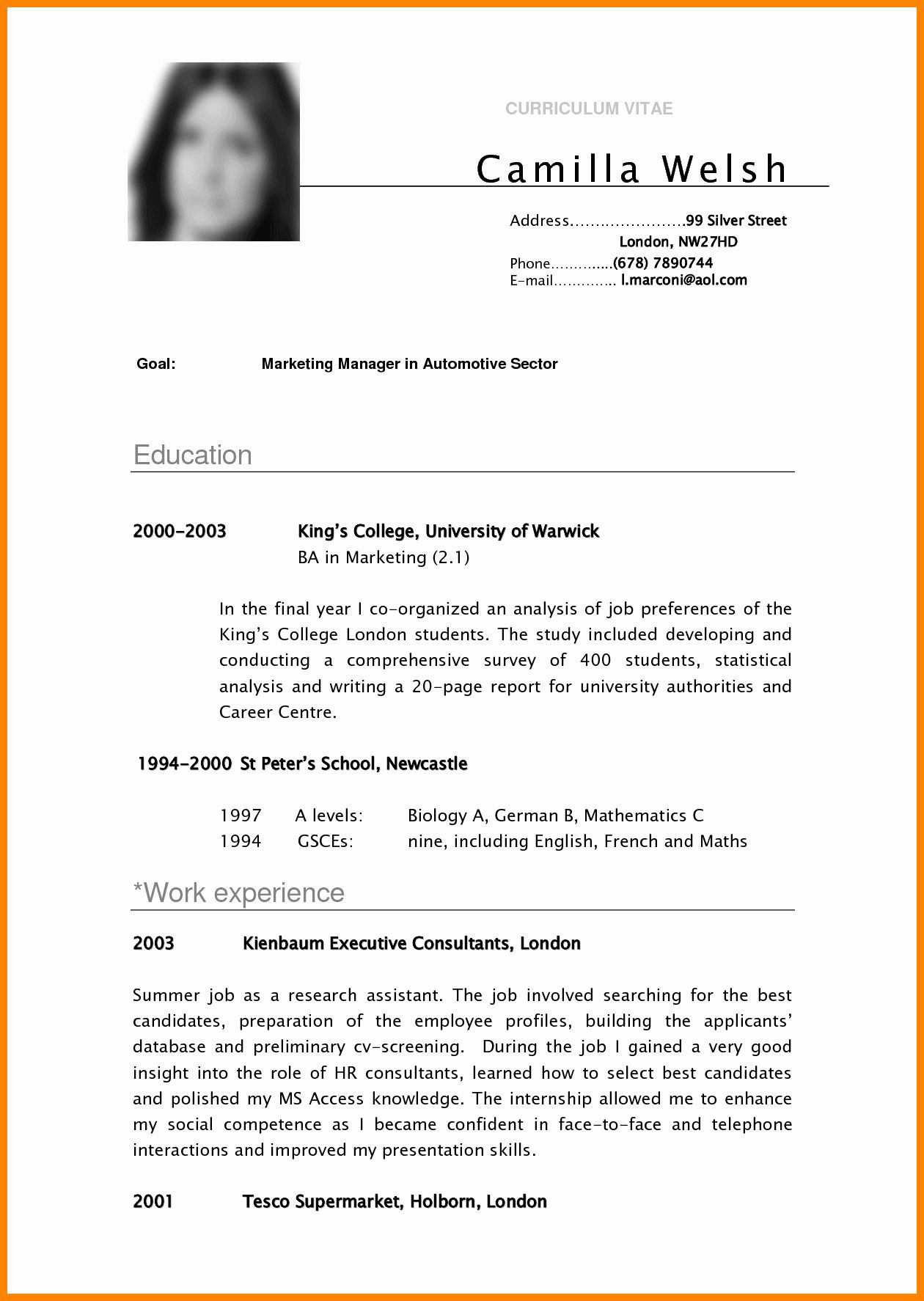 Resume Template College Student Fresh 5 Cv Samples for