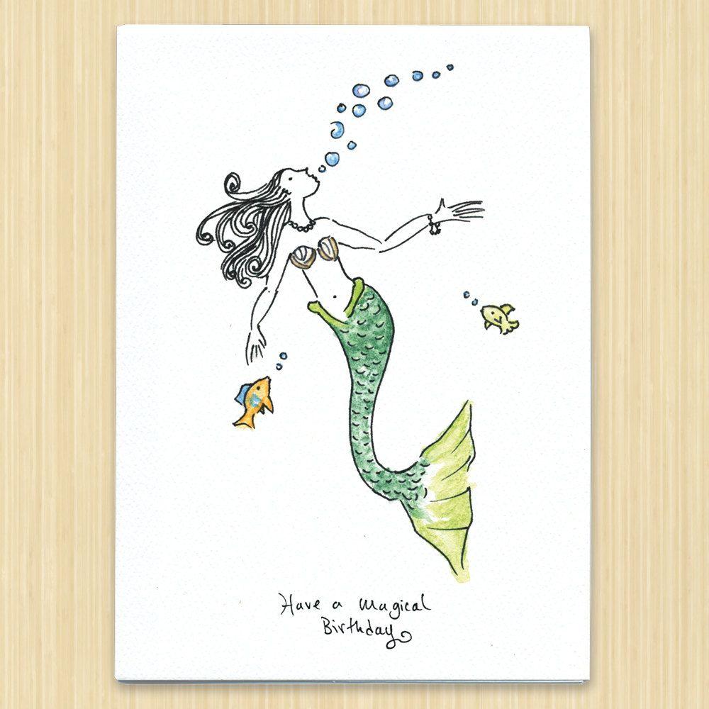 Birthday Card Mermaid Birthday Mermaid Card Happy Birthday Etsy Birthday Cards Birthday Greeting Cards Mermaid Birthday