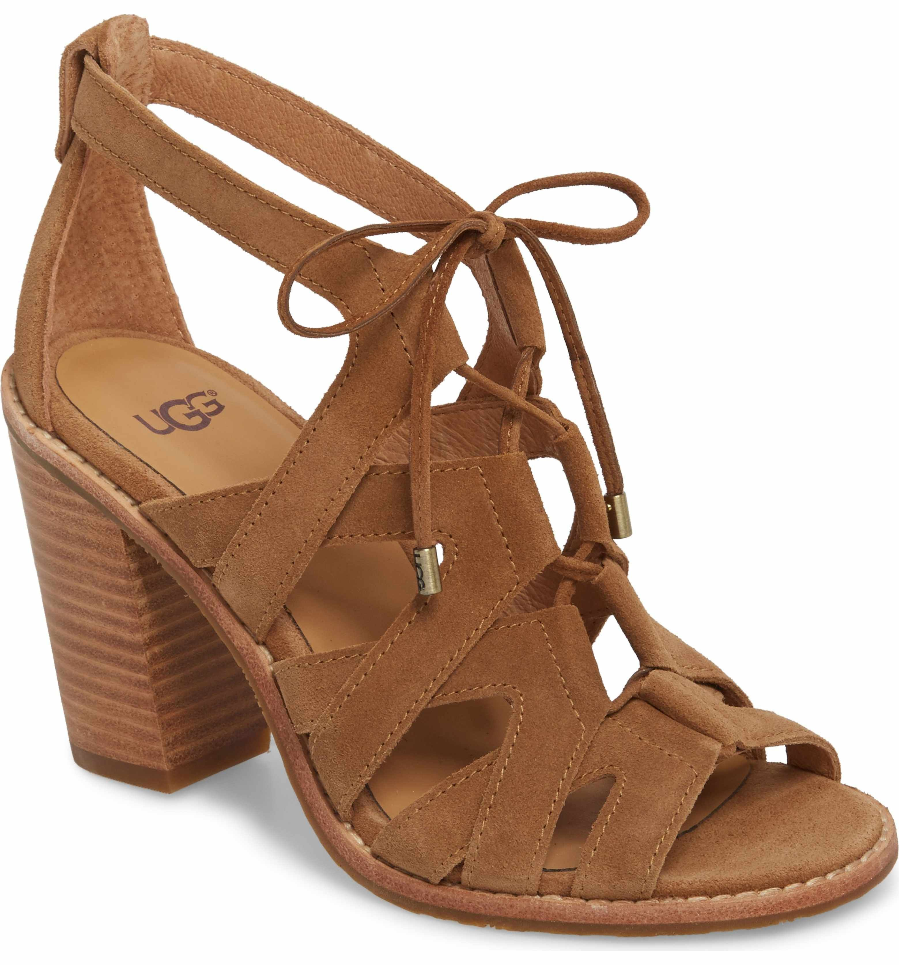 UGG® Harris Suede Ghilie Lace Up Block Heel Sandals 7aE0rHE6