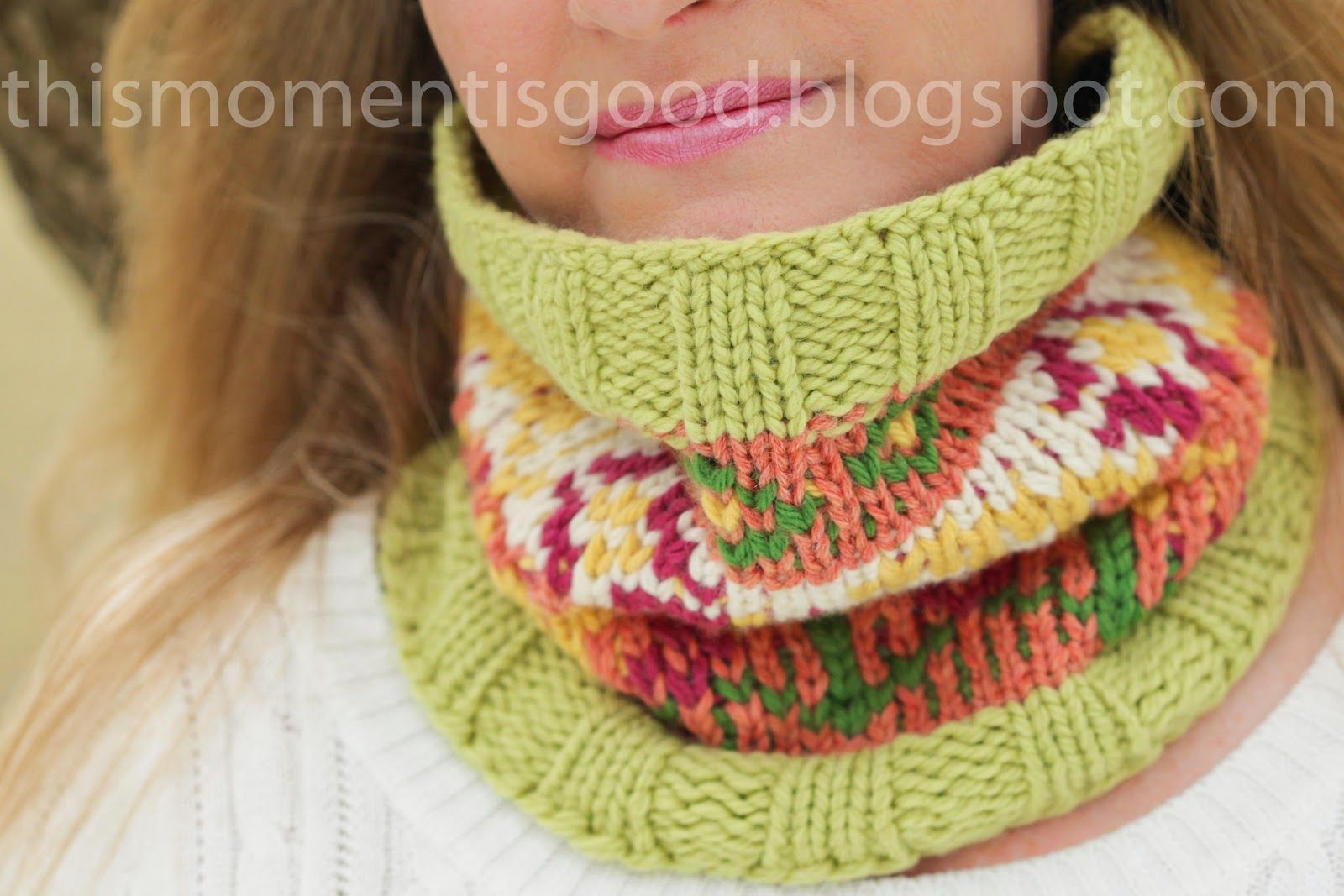 LOOM KNIT FAIR ISLE COWL by This Moment is Good. Free Pattern and ...