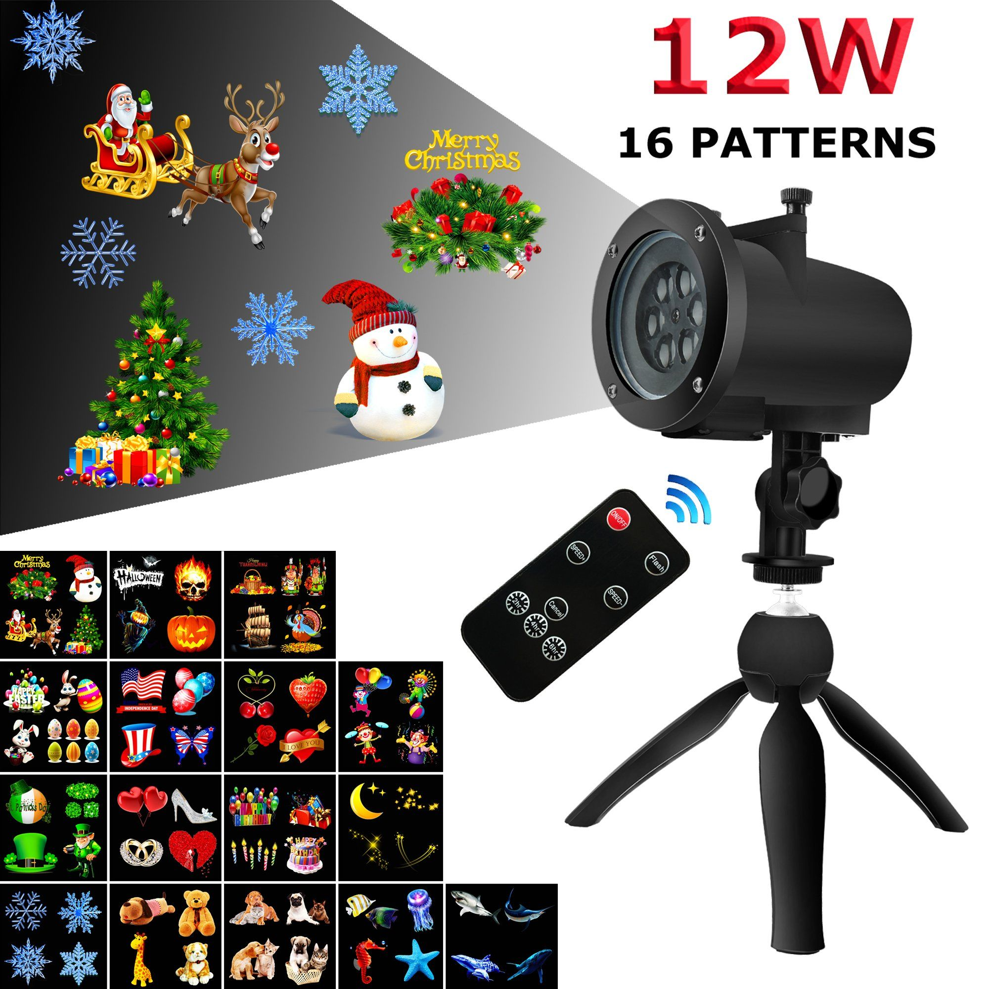 Toha 12w led christmas projector light with 16 pattern slides for toha led christmas projector light with 16 pattern slides for halloween thanksgiving easter birthday holiday party indoor and outdoor use aloadofball Images
