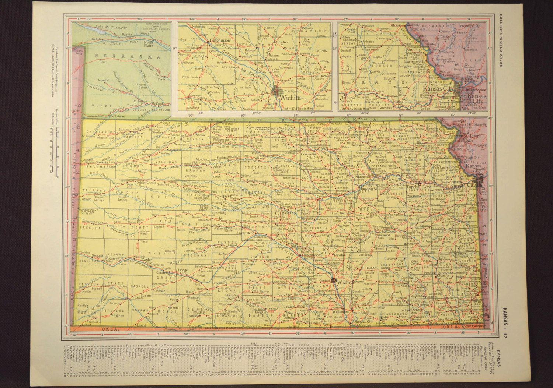 Kansas Map Kansas Yellow Original Vintage 1950s 1958   Map Wall ...