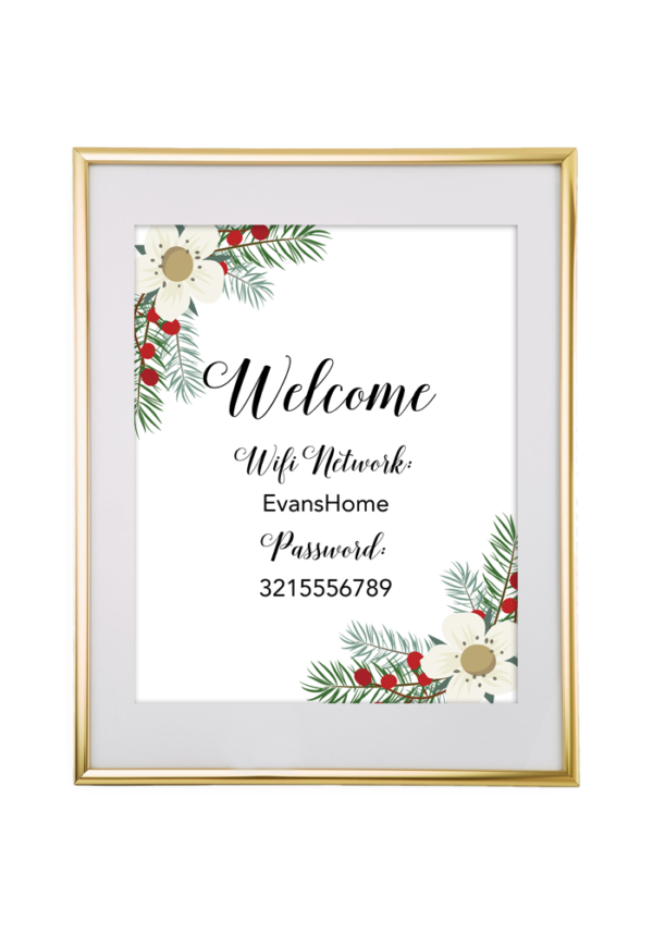 Christmas Garland Wifi Password Sign | Free Printables for
