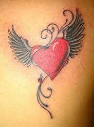 Small Heart Angel Wings Tattoo Google Search Feather Tattoos Heart With Wings Tattoo Black Heart Tattoos
