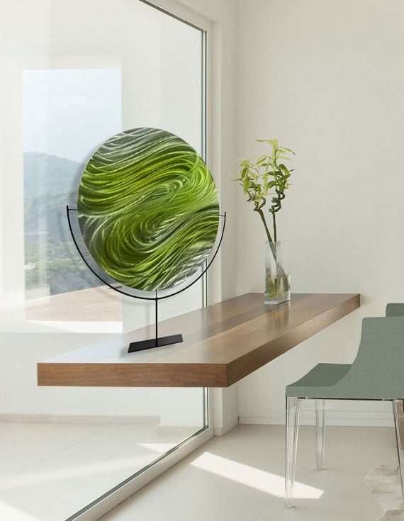 Green Abstract Metal Accent - Circle Modern Metal Art - Contemporary ...