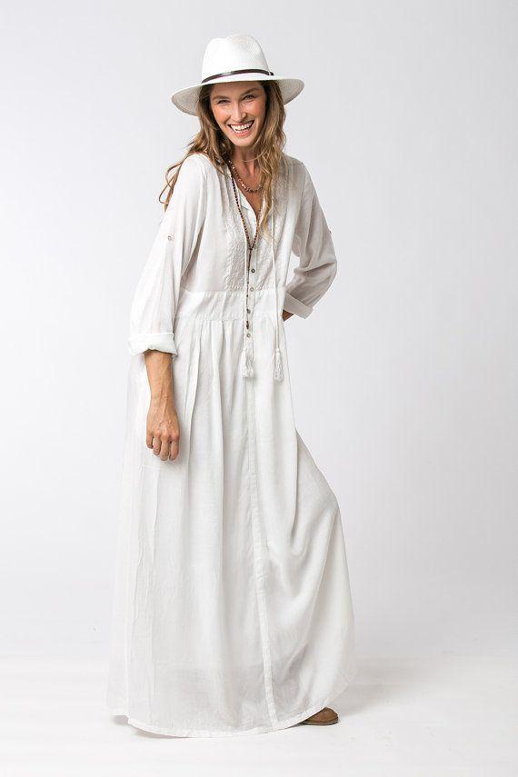 6e0aba900e0e Robe blanche robe bohème robe lâche robe longue blanche par Hanamer