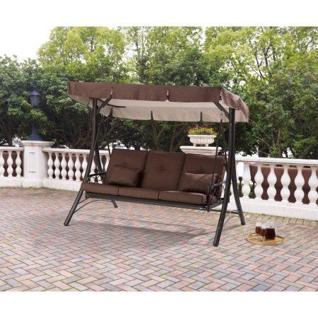 Mainstays Lawson Ridge Converting Outdoor Swing Hammock Seats 3 Outdoor Patio Swing Outdoor Hammock Swing Outdoor Bench Swing